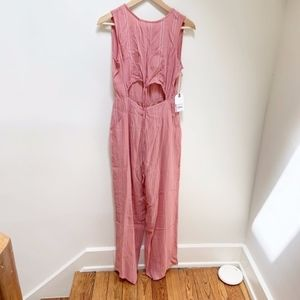 NWT Leith pink & white open front jumpsuit S